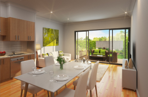 Open plan living areas open onto outdoor spaces at Paperbark Place in Mooroolbark
